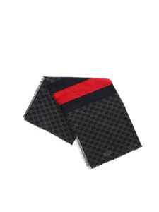 Gucci - GG motif scarf in black and red