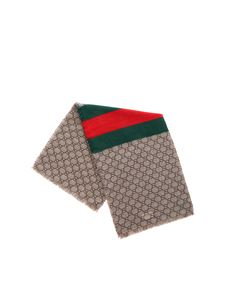 Gucci - GG motif scarf in beige with web ribbon