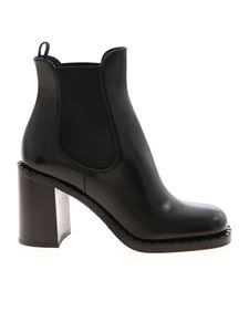 Prada - Brushed leather ankle boots in black