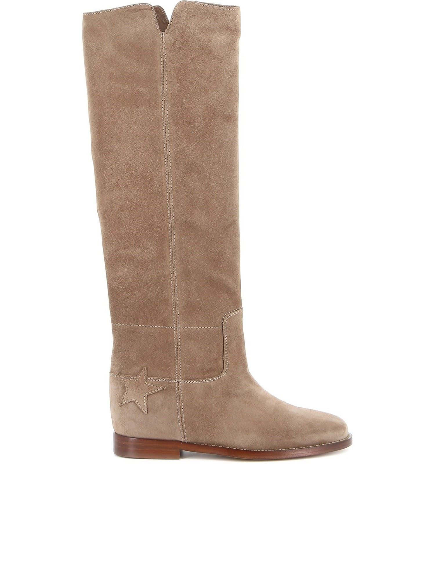 Via Roma 15 STAR PATCH BOOTS IN BEIGE