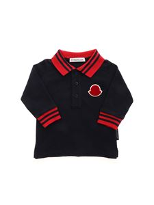 Moncler Jr - Red details long sleeves polo shirt in blue