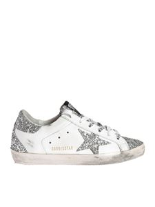 Golden Goose - Super-Star sneakers in white with silver glitter