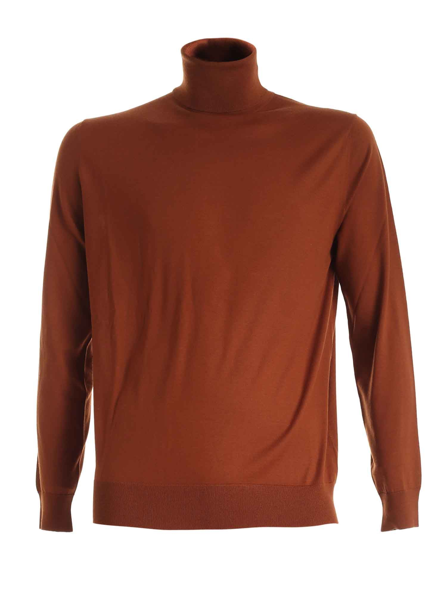 Prada Clothing KNITTED TURTLENECK IN RUST COLOR