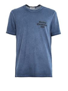 Dondup - T-shirt delavé in cotone con stampa logo