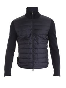 Moncler - Tricot padded cardigan in dark blue