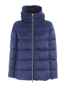 Herno - Down jacket in blue featuring logo pattern