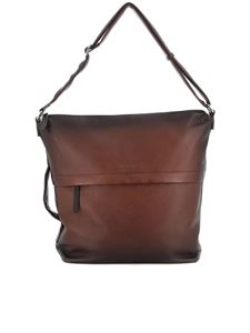 Orciani - Gradient hammered leather bag in brown
