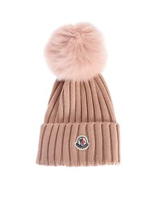 Moncler - Ribbed beanie in pink