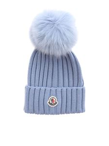 Moncler - Ribbed beanie in light blue