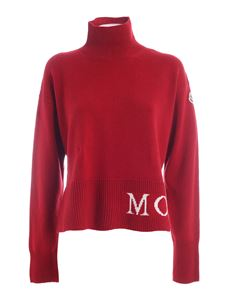 Moncler - White logo turtleneck in red