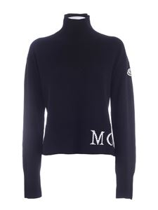 Moncler - White logo turtleneck in black