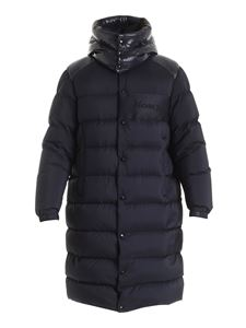 Moncler - Autaret long down jacket in blue featuring hood