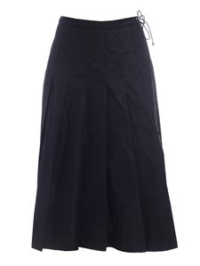 Moncler - Pleated midi skirt in black featuring drawstring