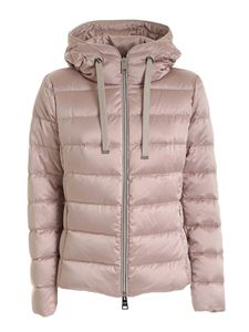 Herno - Quilted powde pink down jacket featuring hood