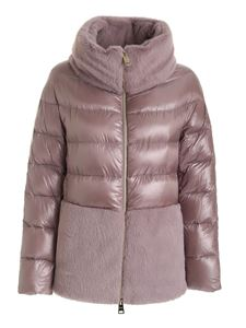 Herno - Synthetic fur quilted down jacket in powder pink