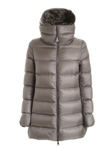Moncler - Ange long down jacket in grey featuring hood
