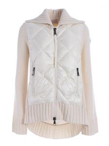 Moncler - Knitted cardigan featuring down jacket