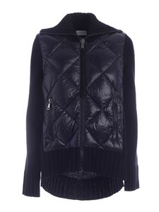 Moncler - Down jacket knitted cardigan in black