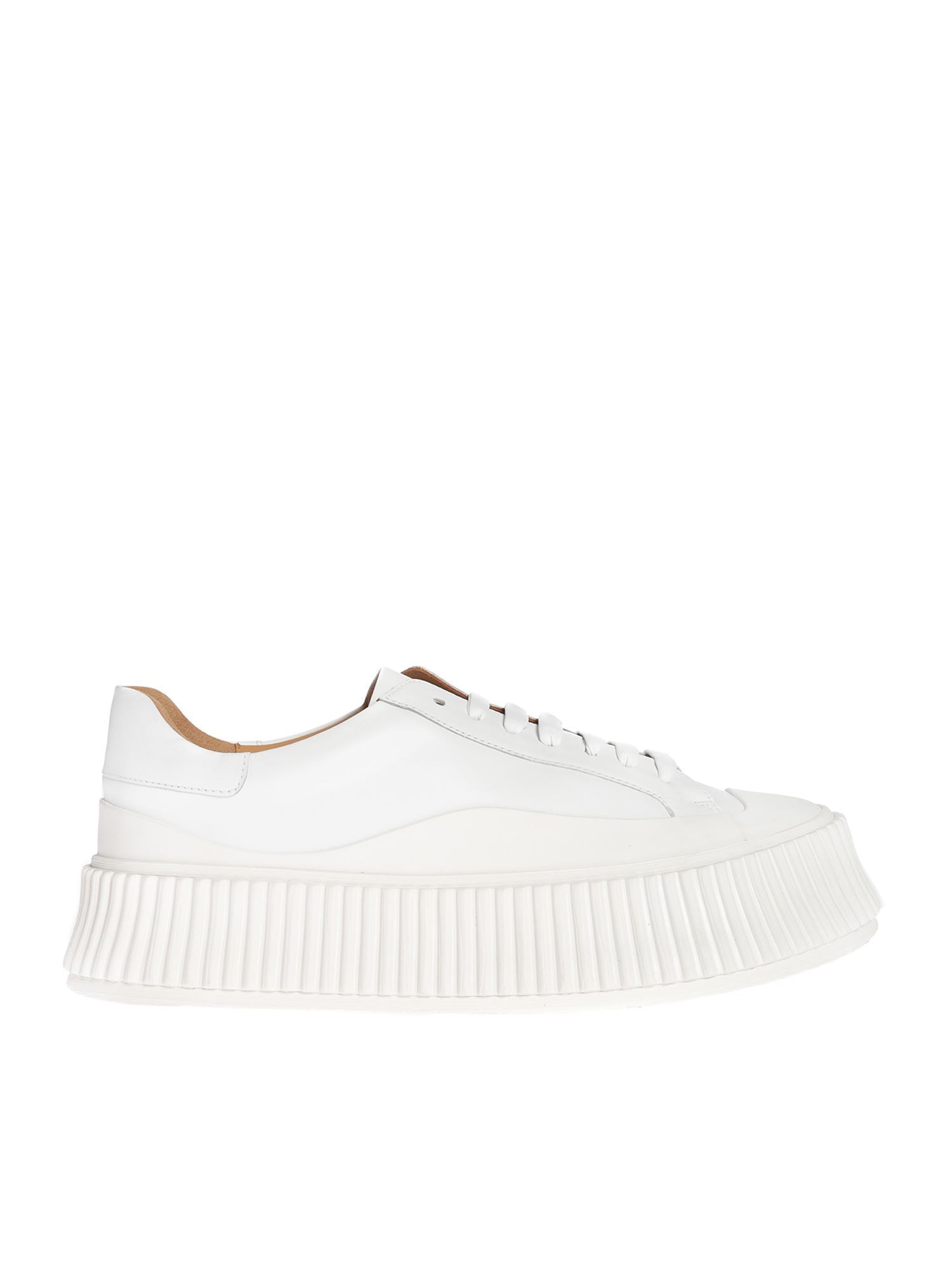 Jil Sander VULCANIZED RUBBER SOLE SNEAKERS IN WHITE
