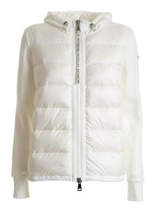 Moncler - White cardigan featuring down detail