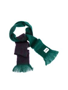 Jil Sander - Fringed scarf in green and purple