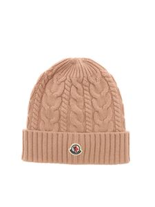 Moncler - Tricot effect beanie in powder pink