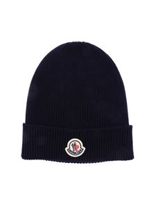 Moncler - Ribbed beanie in dark blue