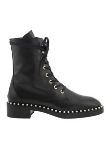 Stuart Weitzman - Leather ankle boots featuring pearls