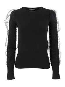 Red Valentino - Point d'esprit tulle sweater in black