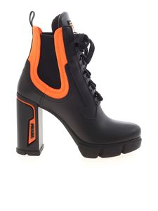 Prada - Black lace-up ankle boots featuring orange details