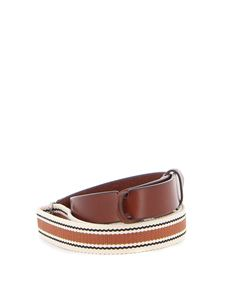 Orciani - Nobuckle leather and fabric belt in brown