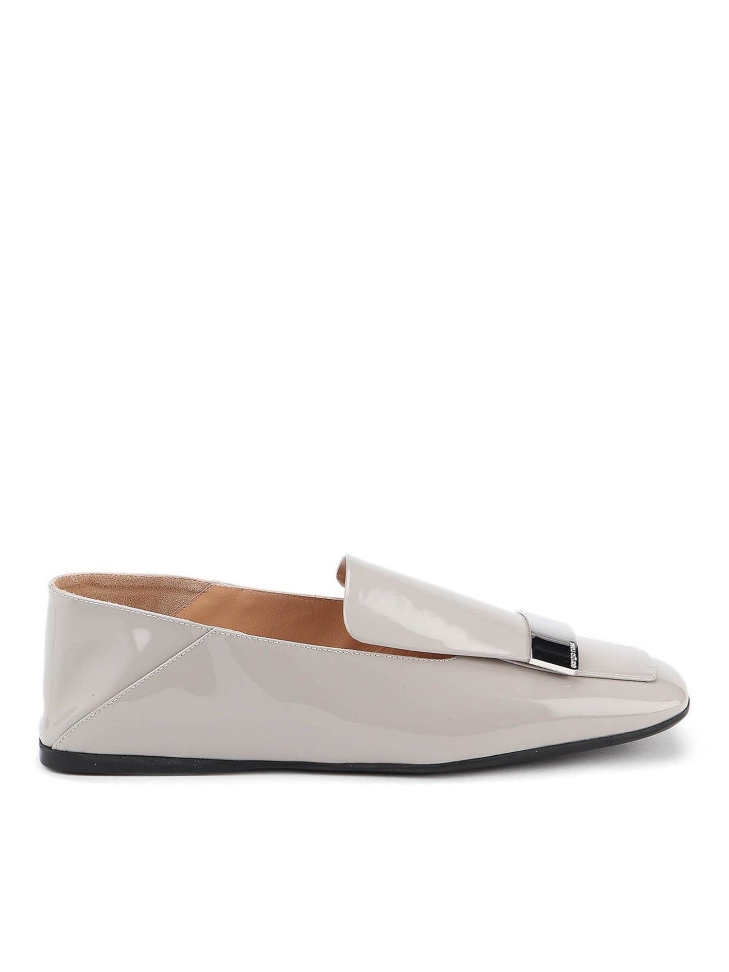 Sergio Rossi PATENT LEATHER SLIPPERS IN GREY