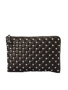 John Richmond - Studs detail quilted clutch in black