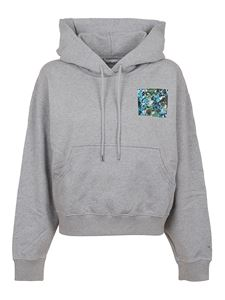 Kenzo - Artwork print boxy fit hoodie in grey