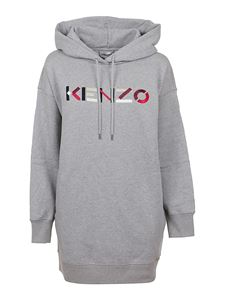 Kenzo - Logo and hood dress in grey