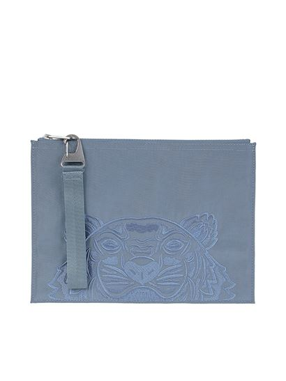 Kenzo - Kampus Tiger large pouch in light blue