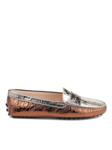Tod's - Crackled leather driver loafers in silver and bronze color