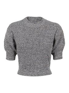 Kenzo - Mouliné crop pullover in dove grey color