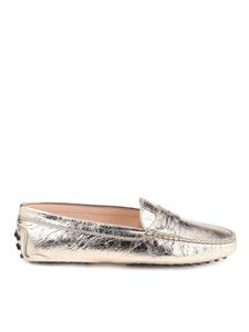 Tod's - Crackled leather loafers in golden color