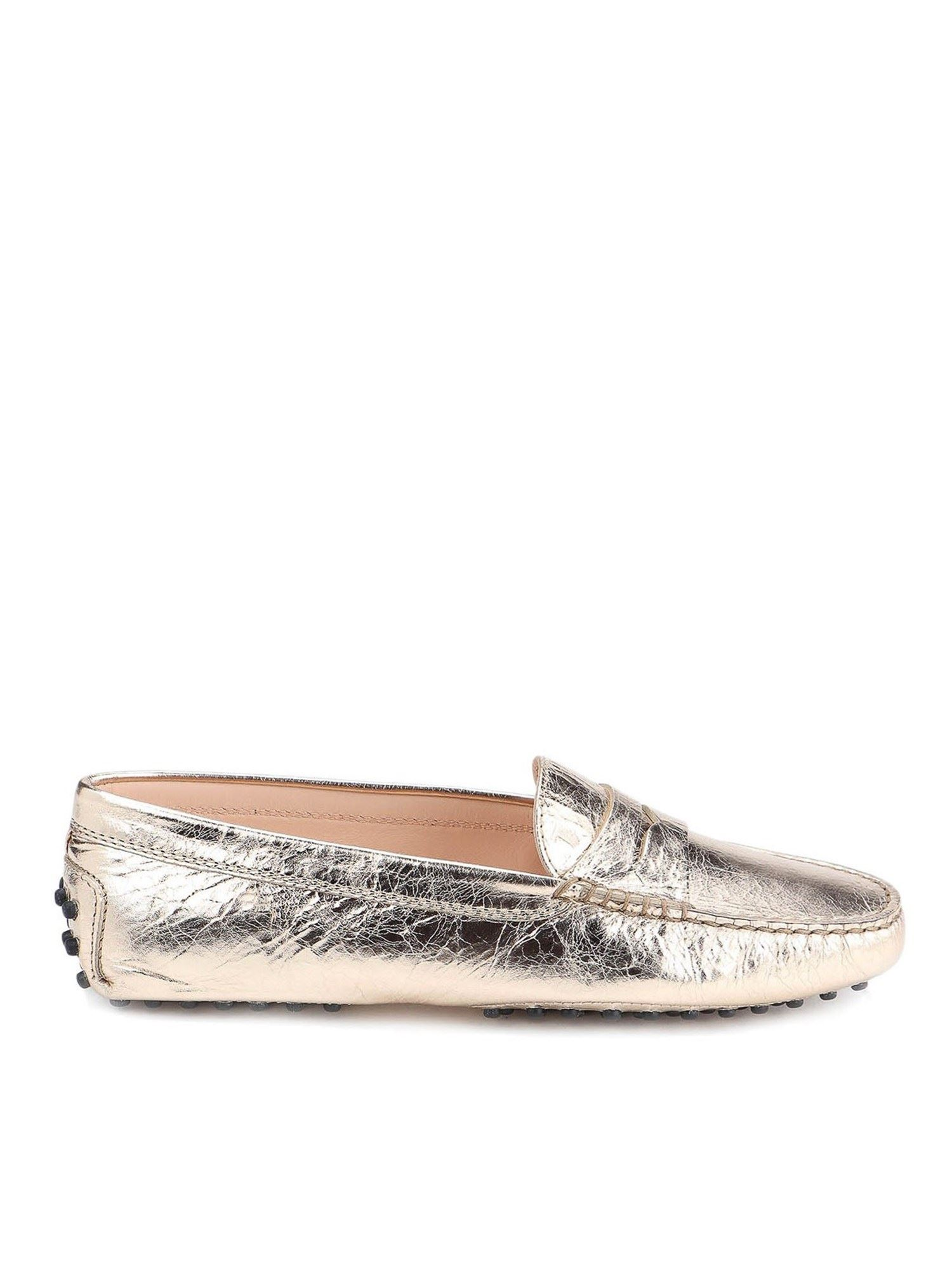 Tod's Leathers CRACKLED LEATHER LOAFERS IN GOLDEN COLOR