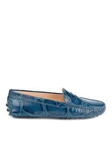 Tod's - Croco printed leather driver loafers in teal blue