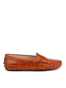 Tod's - Croco printed leather loafers in brown