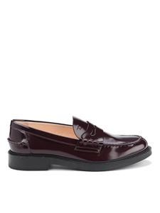 Tod's - Patent leather college loafers in wine color