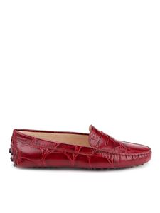 Tod's - Croco printed leather loafers in burgundy
