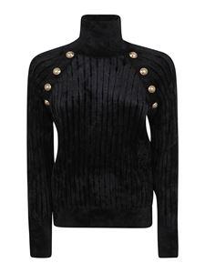 Balmain - Velvet black turtleneck featuring golden buttons