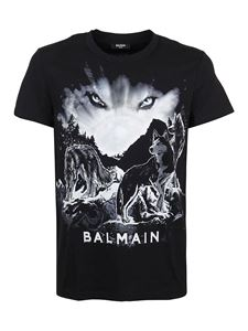 Balmain - Wolf print cotton T-shirt in black