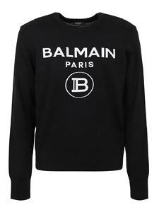 Balmain - Logo embroidery crewneck sweater in black