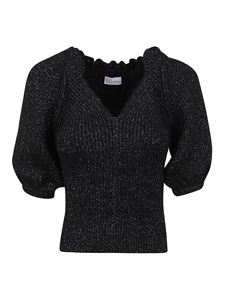 Red Valentino - Lurex knitted pullover in black