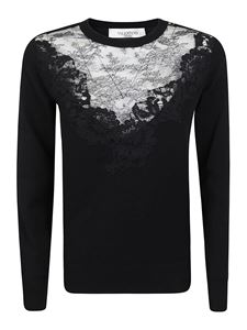 Valentino - Lace embroidered insert pullover in black