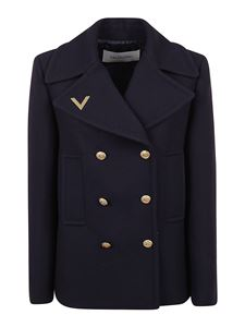 Valentino - Wool double-breasted coat in blue
